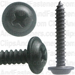 "#8 X 1"" Phillips Flat Top Washer Head Screws Black E-Coat"