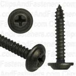 #10 X 1-1/4 Phillips Flat Top Washer Head Screws Black E-Coat