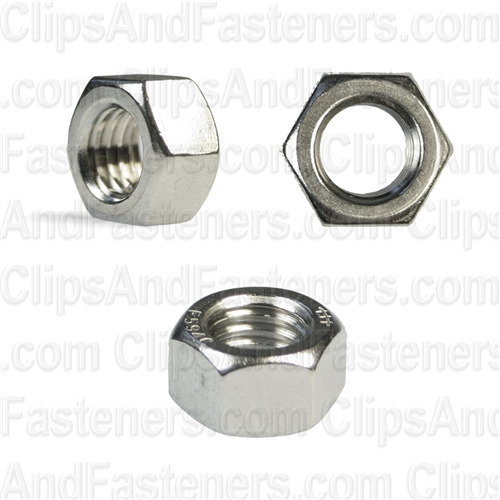1/2-13 Hex Nuts 18-8 Stainless Steel