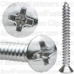 Phillips Oval Head Tap Screw 6 X 1 1/4 Chrome