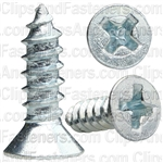 "#6 X 1/2"" Phillips Flat Head Tapping Screw Zinc"