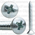 No 10 X 1 1/2 Phillips Oval Head Tap Screw Zinc