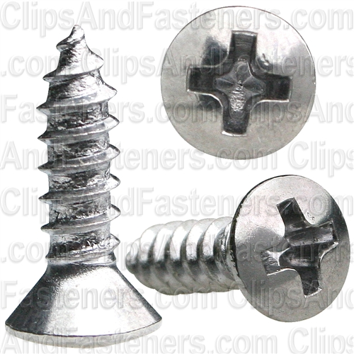 6 X 1/2 Phillips Oval Head Tap Screw Chrome