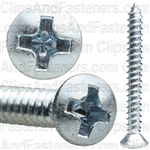 6 X 1 1/4 Phillips Oval Head Tap Screw Zinc