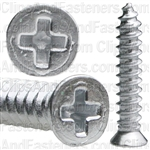 "#6 X 3/4"" Phillips Flat Head Tapping Screw Chrome"