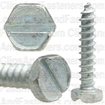 "#6 X 3/4"" Slotted Hex Head Tapping Screws Zinc"