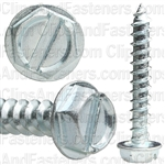 10 X 1 1/4 Slotted Hex Washer Head Tap Screw Zinc