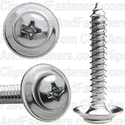 "#10 X 1-1/4"" Phillips Oval #8 Head Sems Countersunk Washer Chrome"