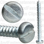 "#6 X 1-3/8"" Zinc Slotted Pan Head Tapping Screws"