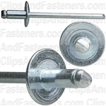 "1/8"" All Steel Panel Blind Rivets 1/16""-1/8"" Grip (100) Large Flange"