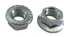 25 M10 - 1.25 JIS Hexagon Flange Nut with Serrations - Small Hex Class 8 Zinc. JIS B 1190
