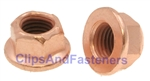 M10-1.25 Flange Exhaust Lock Nut Copper Plated 14mm Hex