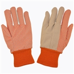 Cordova Cotton Canvas Gloves, Orange PVC Dots, Large 2670