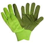 Hi-Vis Lime Canvas Gloves, Black PVC Dots