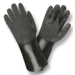 Cordova Black Supported PVC Large Gloves, Sandpaper Grip 5114SI