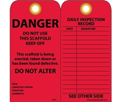Danger Scaffold Tags with Grommets