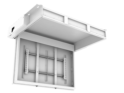 Electric hinged ceiling tv bracket for 70 inch displays for Motorized ceiling tv mounts for flat screens