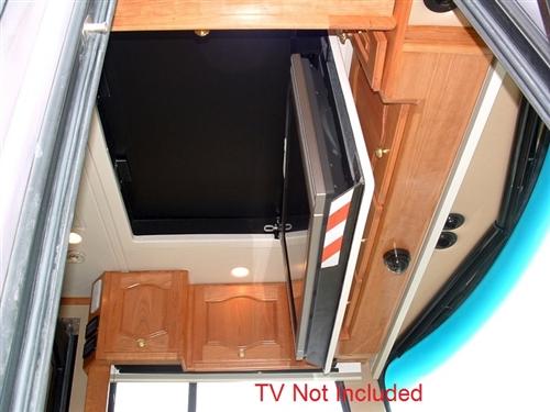 Rv motor home motorized flip down ceiling bracket for Motorized lift for tv