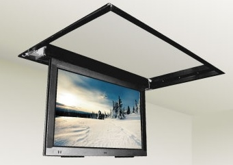 Motorized drop down ceiling tv bracket for Motorized flip down tv mount