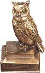 Owl Perched on Books Bookends