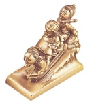 Sledding Kids on Toboggan Bookends