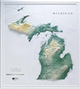 Raised Relief Map of Michigan