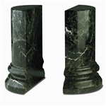 Marble Jade Leaf Green Rounded Column Bookends