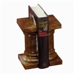 Marble Amber Onyx Pedestal Bookends