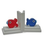 Blue/Red Puffer Fish Bookends