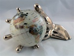 "Mother-of-Pearl 4"" World In Hand Globe - Gold"