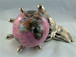 "Rubellite 4"" World In Hand Gemstone Globe - Gold"