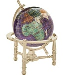 3 Inch Amethyst Desk Gem Globe on Gold or Silver Nautical or Arc Stand