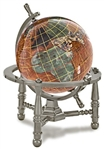 3 Inch Copperite Desk Gem Globe on Gold or Silver Nautical or Arc Stand
