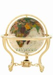 6 Inch Mother-of-Pearl Gemstone Globe on Gold Metro Stand