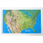Raised Relief Map of United States (Mainland Only)