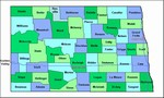 Laminated Map of Wells County North Dakota