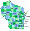 Laminated Map of Waupaca County Wisconsin