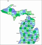 Laminated Map of Mackinac County Michigan