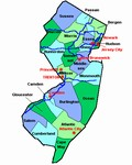 Laminated Map of Union County New Jersey