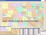 South Dakota State Zip Code Map with Wooden Rails