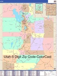 Utah State Zip Code Map with Wooden Rails