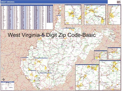 West Virginia Zip Code Map From OnlyGlobes