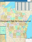 Wisconsin State Zip Code Map with Wooden Rails
