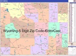 Wyoming State Zip Code Map with Wooden Rails