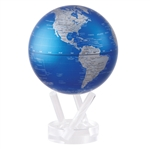 Metallic Blue & Silver Rotating Globe from Mova