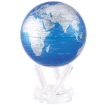 Rotating 6 Inch Bright Blue Globe with Silver Land