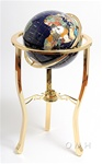 13 Inch Lapis Globe - 3-Legged Gold Stand with Compass