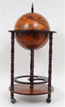 "17""  Floor Bar Globe - Dark Red Mahogany Color"