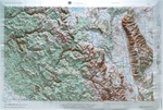 Raised Relief Map of Mariposa California, Bumpy Maps