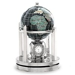 3 Inch Galleon Black Opalite Rotating Globe - Silver Base